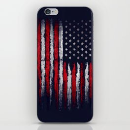 Red & white American flag on Navy ink iPhone Skin
