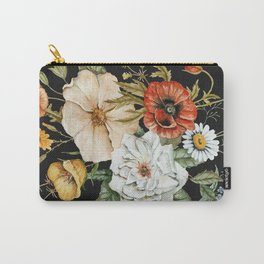 Wildflower Bouquet on Charcoal Carry-All Pouch