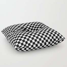 Classic Black and White Race Check Checkered Geometric Win Floor Pillow