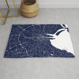 Dublin Street Map Navy Blue and White Rug