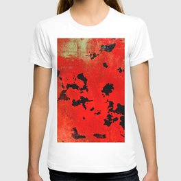 Red Modern Contemporary Abstract Textured Design T-shirt