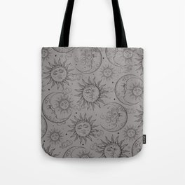 Grey Magic Celestial Sun Moon Stars Tote Bag