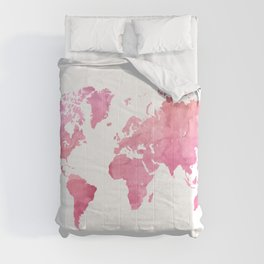 Pink world map Comforters