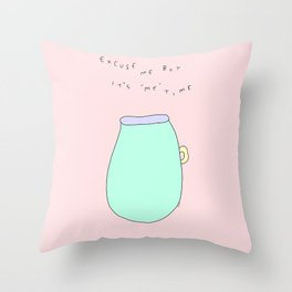Tea Time and Me Time - Tea Illustration Throw Pillow