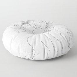 Minimal Line Art Woman Flower Head Floor Pillow