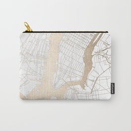New York City White on Gold Carry-All Pouch