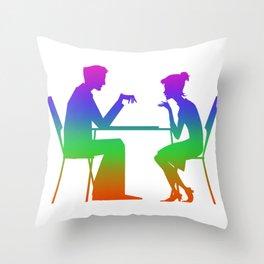 Board Games  Rainbow Silhuette Throw Pillow