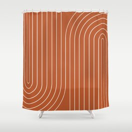 Minimal Line Curvature - Coral Red Shower Curtain