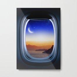 Airplane window with Moon, porthole #1 Metal Print