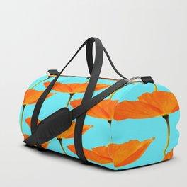 Poppies On A Turquoise Background #decor #society6 #buyart Duffle Bag