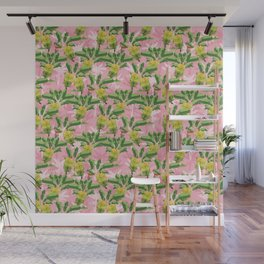 Graphic - Fresh Banana Trees pink background Wall Mural