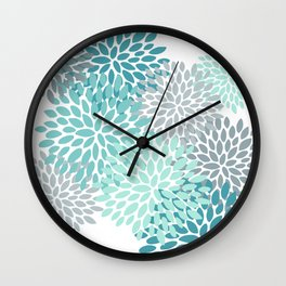 Floral Pattern, Aqua, Teal, Turquoise and Gray Wall Clock