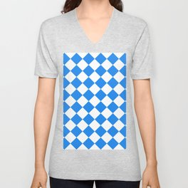 Large Diamonds - White and Dodger Blue Unisex V-Neck