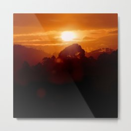Sunset on the wild forest in the Andes Mountains Metal Print