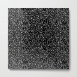 Paper Airplanes Black Metal Print