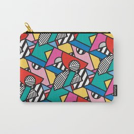 Colorful Memphis Modern Geometric Shapes - Tribal Kente African Aztec Carry-All Pouch