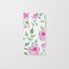 Roses Pink and White Shabby Chic Floral Hand & Bath Towel