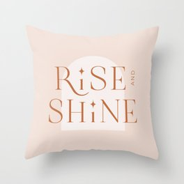 Rise and Shine   Minimal Typographic Artwork  Throw Pillow