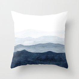 Indigo Abstract Watercolor Mountains Throw Pillow