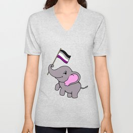 Elephant With Asexual Flag Asexual Gift Unisex V-Neck