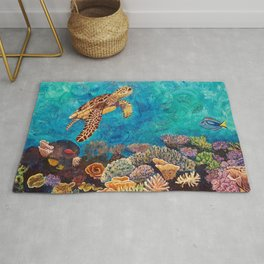 A Look around - Sea turtle in the reef Rug