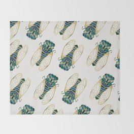Green & Gold Cicada Throw Blanket