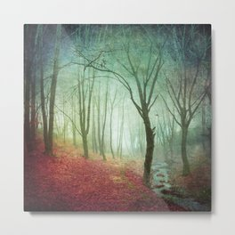 Misty Forest and Creek in Fall Metal Print