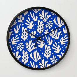 matisse pattern with leaves in blu Wall Clock