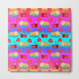 Cute funny sweet adorable little sleeping baby sloths, little cherries and red ripe summer strawberries cartoon fantasy bright rainbow blue pink pattern design Metal Print