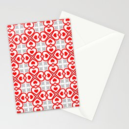 Red hearts pattern Stationery Cards