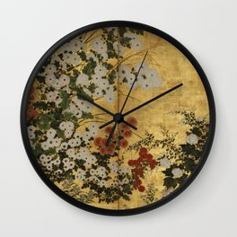 White Red Chrysanthemums Floral Japanese Gold Screen Wall Clock