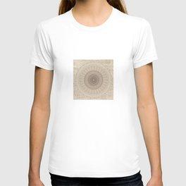 Unique Texture Taupe Burlap Mandala Design T-shirt