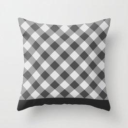 Diagonal buffalo check black Throw Pillow
