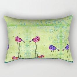 Three Birds - Spring Art By Sharon Cummings Rectangular Pillow
