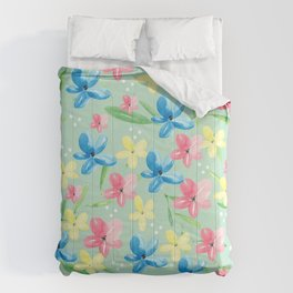 Floral Fields in Pink Blue and Yellow Comforters