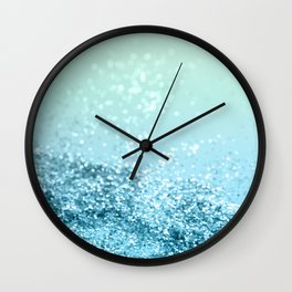 Seafoam Aqua Ocean MERMAID Girls Glitter #3 #shiny #decor #art #society6 Wall Clock