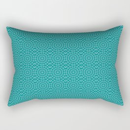 Tanager Turquoise and Teal Blue Repeat Pattern Rectangular Pillow
