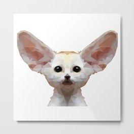Geometrical Polygon Exotic Pet Fennec Fox Metal Print