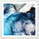 White Sand Blue Sea - Alcohol Ink Painting by elizabethschulz
