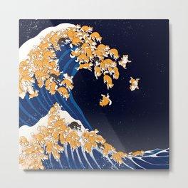 Shiba Inu The Great Wave in Night Metal Print