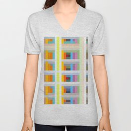 colorful geometric pattern design Negret Unisex V-Neck