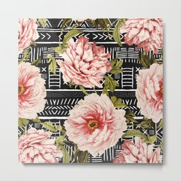 Flowering pink on drawn lines Metal Print