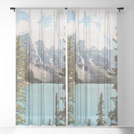 Moraine Lake II Banff National Park Sheer Curtain