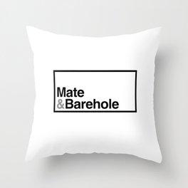 Mate & Barehole / Crate and Barrel Logo Spoof Throw Pillow