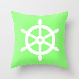 Ship Wheel (White & Light Green) Throw Pillow