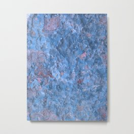 Battered Blue Rusted Metal Texture Metal Print