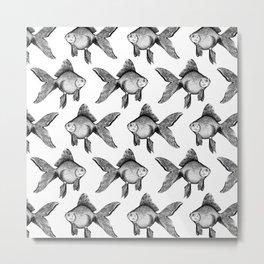 Black Goldfish Pattern Metal Print