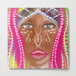 Lady Beauty Abstract Portrait Metal Print