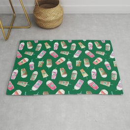 Coffee Crazy Toss in Green Rug