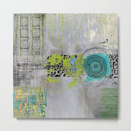 Teal & Lime Round Abstract Art Collage Metal Print